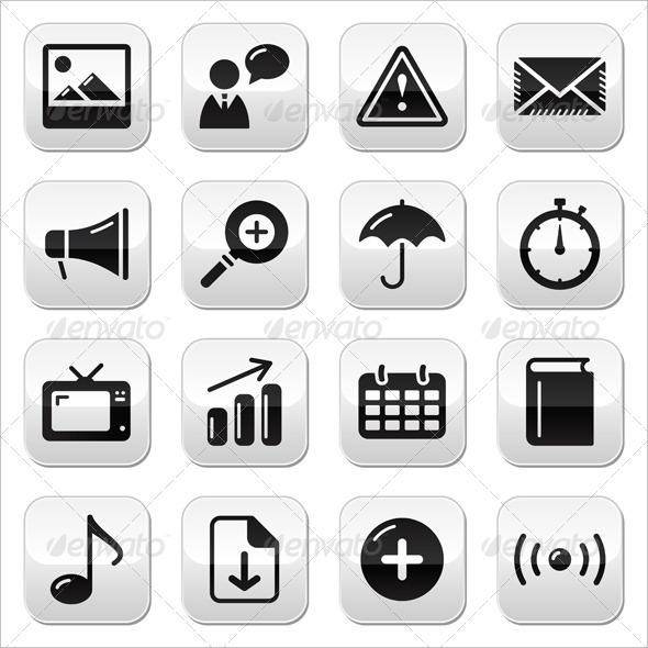 Website internet glossy sqaure buttons set - Web Elements Vectors