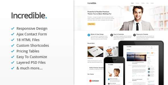 ThemeForest Incredible Responsive HTML Template 2629507
