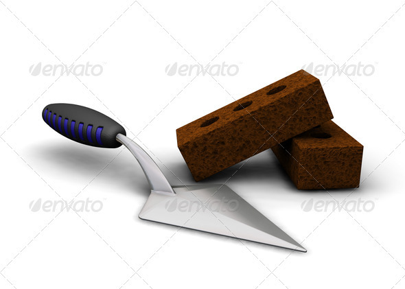 Masonry Trowel Logo : Trowel and bricks graphicriver
