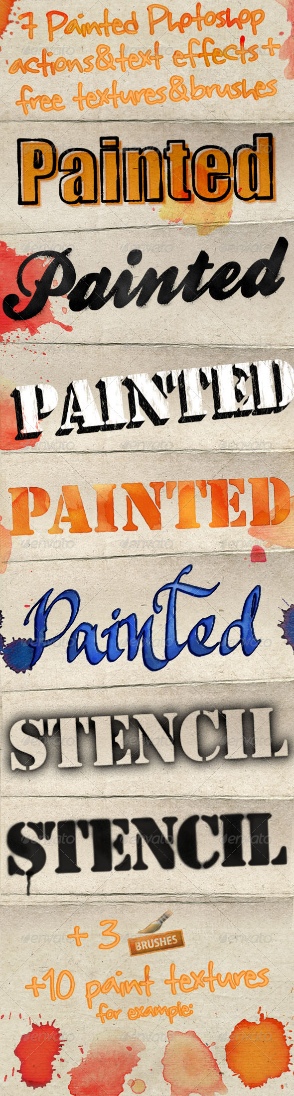 Painted Photoshop Text Effects & Actions - Text Effects Styles