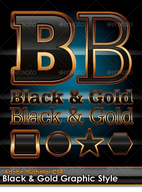 GraphicRiver Black & Gold Illustrator Graphic Style 99153