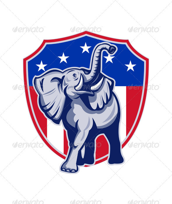 Republican Elephant Mascot USA Flag Shield