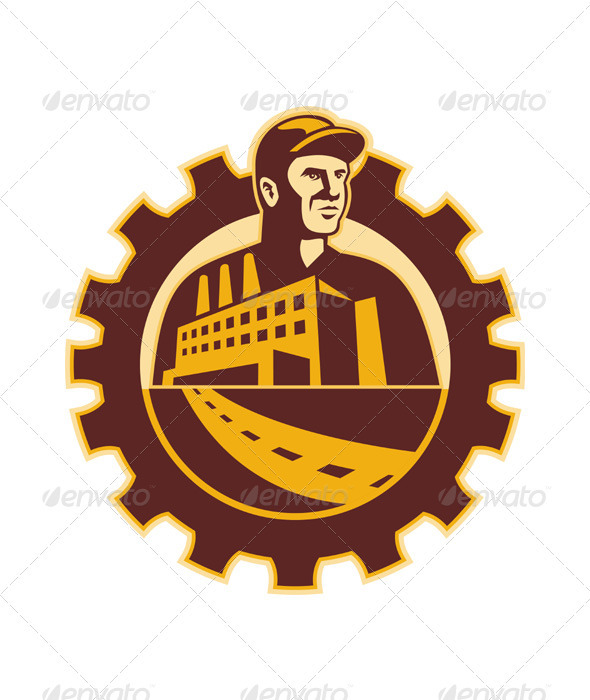 Factory Worker Mechanic With Cog Building