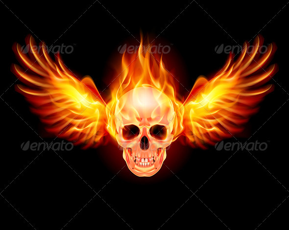Flaming Skull - Tattoos Vectors