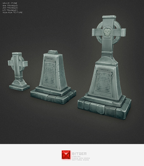 Low Poly Grave Stone 03 - 3DOcean Item for Sale