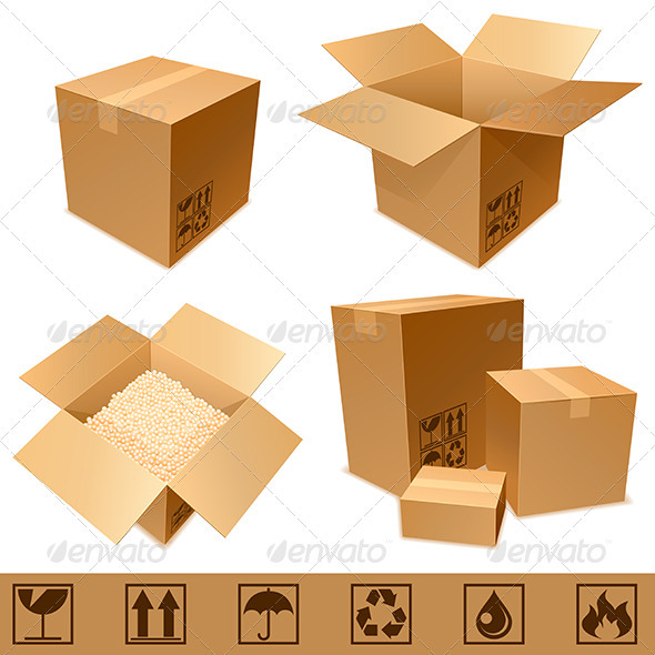 GraphicRiver Cardboard Boxes 2922910