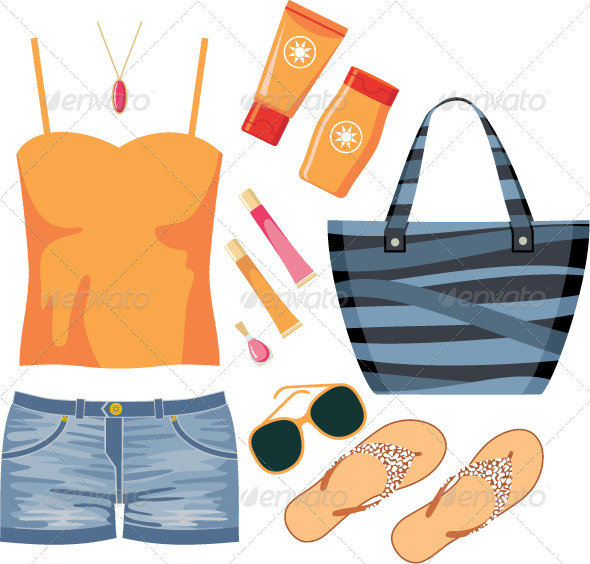 fashionset of summer clothes graphicriver. Black Bedroom Furniture Sets. Home Design Ideas
