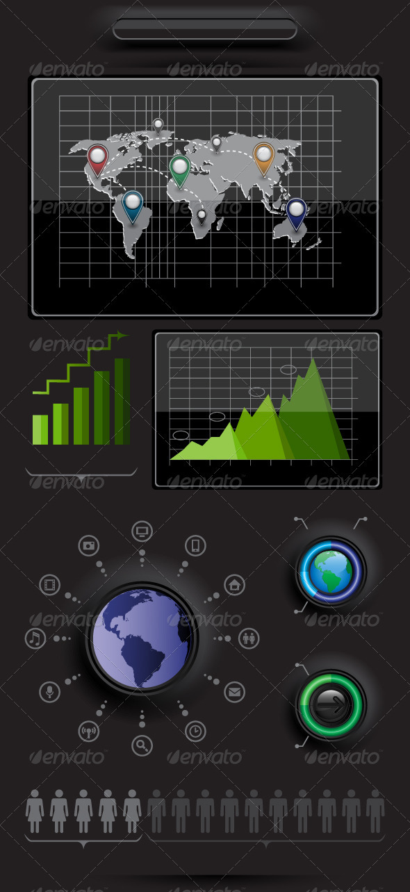 GraphicRiver Infographics elements with world map 2924014