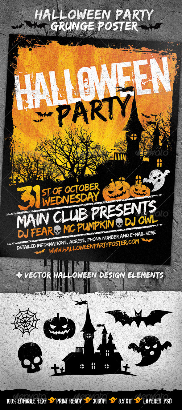 GraphicRiver Halloween Party Grunge Poster 2924874