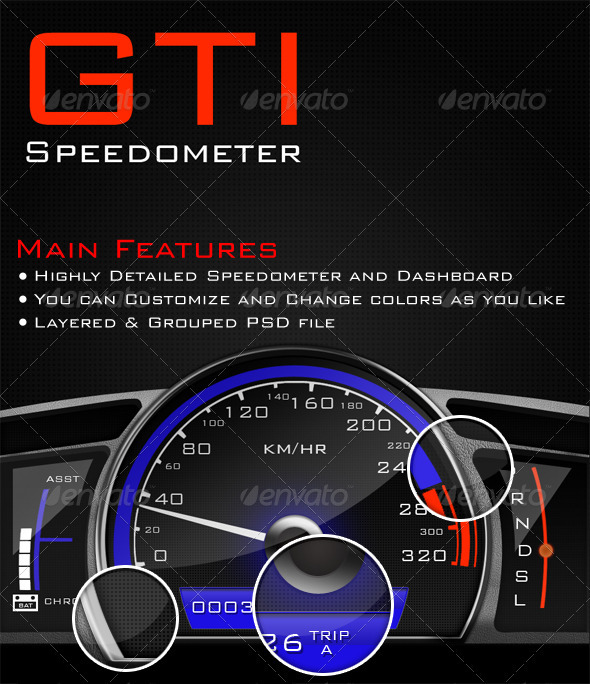 GTI Speedometer - Objects Illustrations