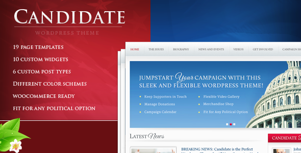 ThemeForest Candidate Political WordPress Theme 2909293
