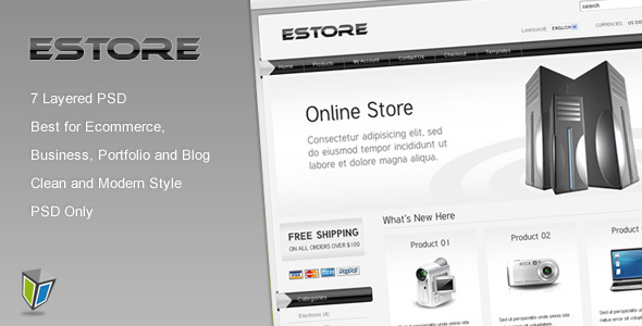 ThemeForest EStore PSD Template for Ecommerce 104809