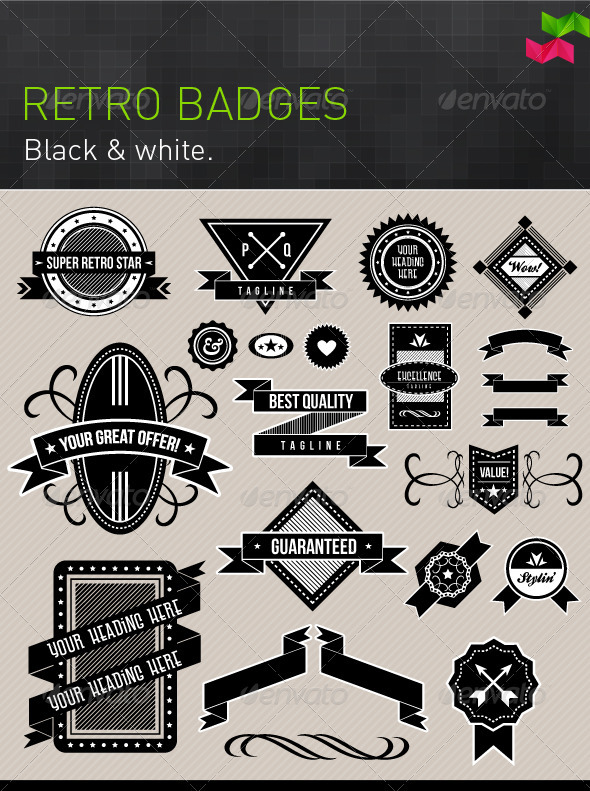 Black and White Retro Badges and Design Elements - Retro Technology