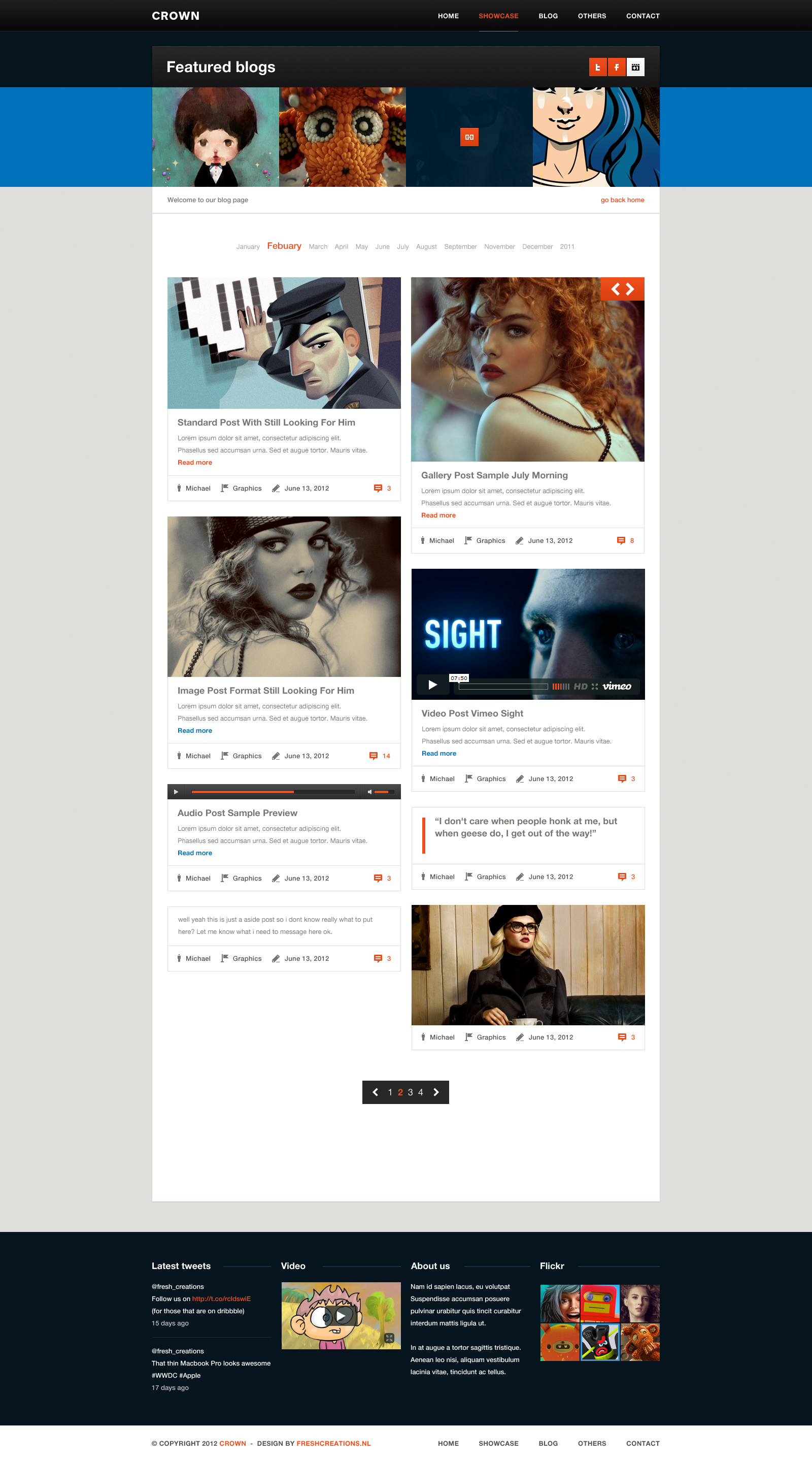 Blog Home Crown Admin Template Free Download