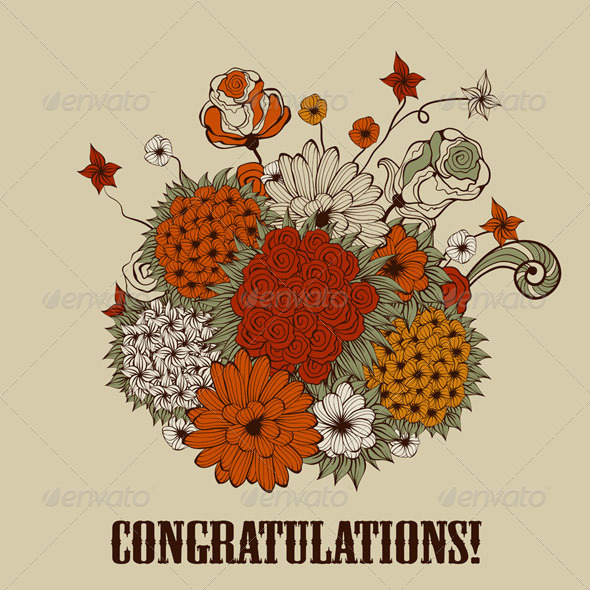 Vector Greeting Card with Bouquet of Bizarre Flowe
