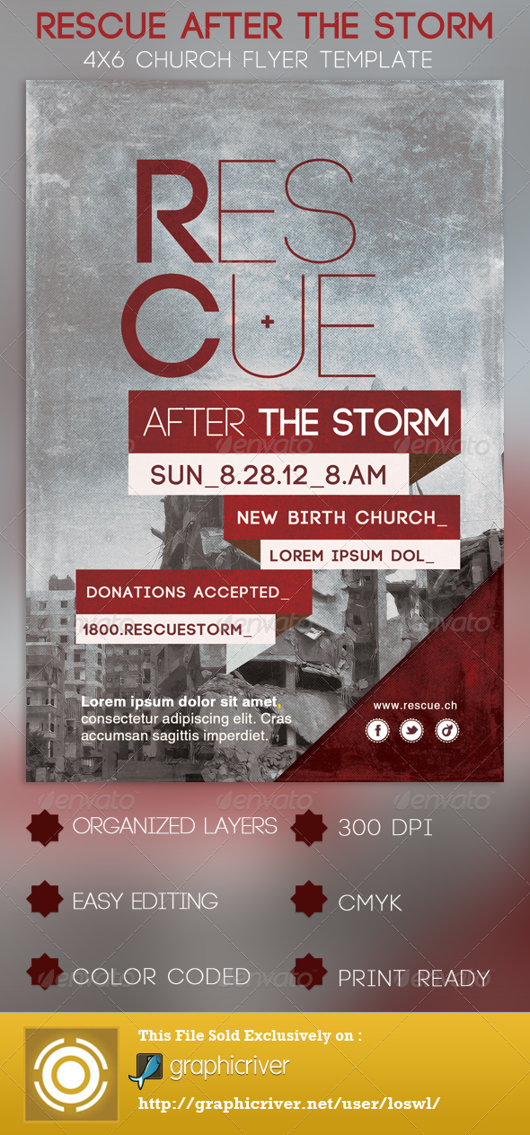 GraphicRiver Rescue After The Storm Church Flyer Template 2920249
