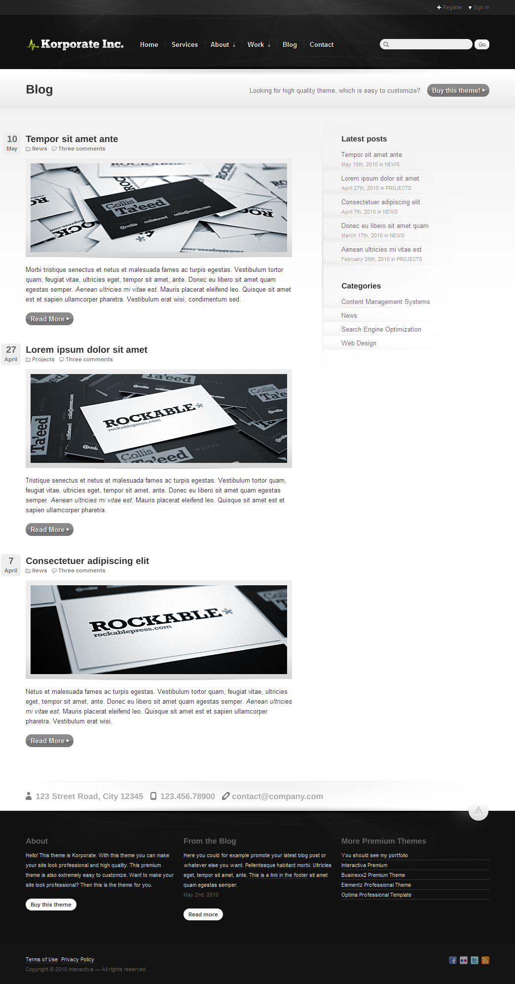 Korporate - Business and Corporate - Blog with the grey color theme