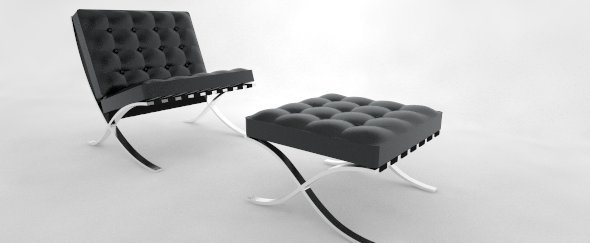 3DOcean Barcelona Chair and Ottoman 2931654