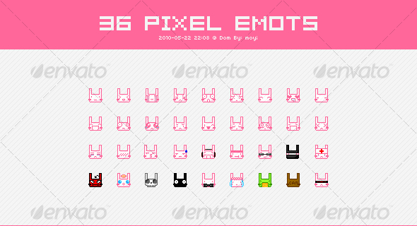 36 Pixel Emoticons of Rabbits - Web Icons