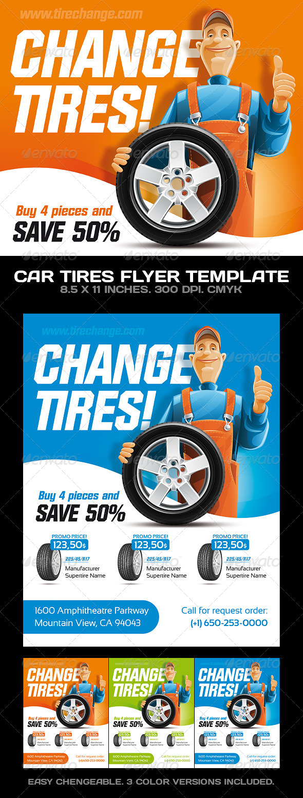 GraphicRiver Car Tires Car Service Flyer Template 306774