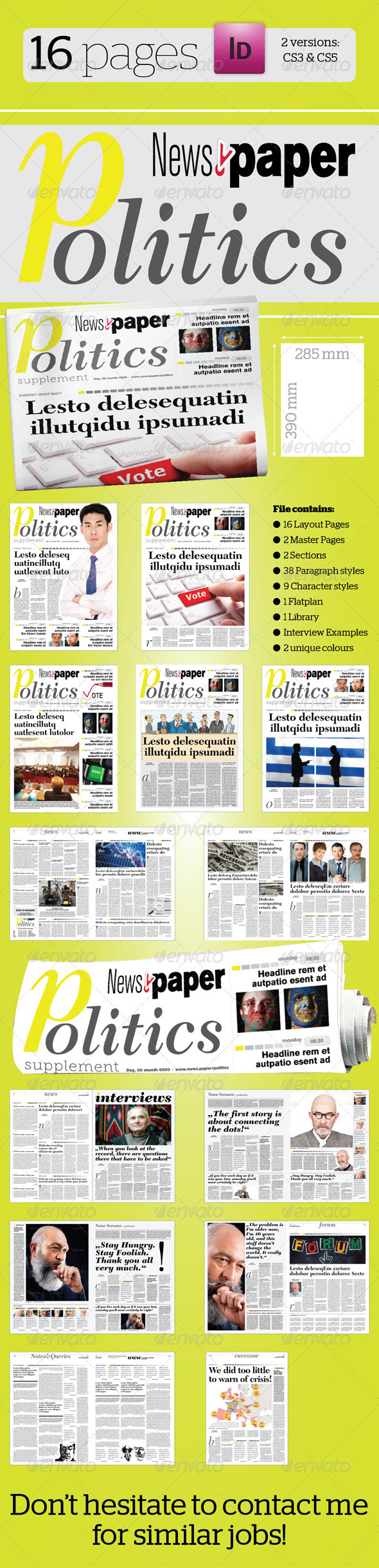 16 Pages Politics Supplement For News.Paper - Newsletters Print Templates