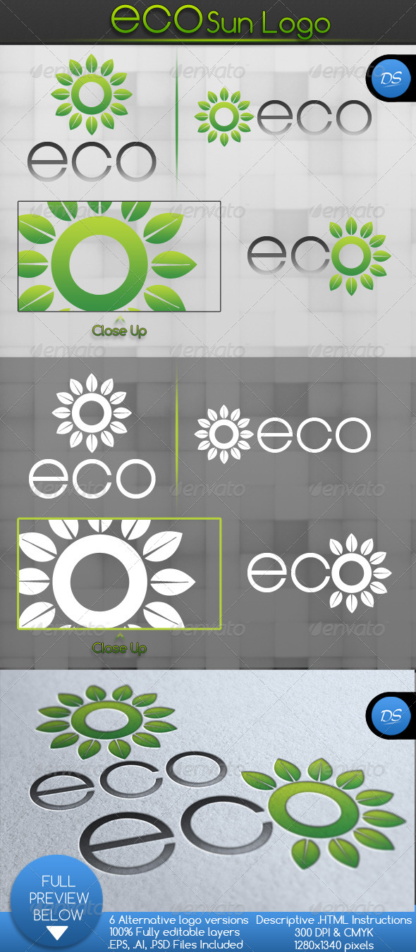 Eco Sun Logo Template - Nature Logo Templates