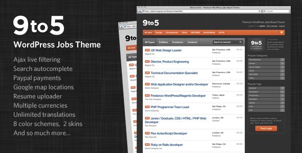 Theme de Bolsa de Trabajo para WordPress: Nine to Five