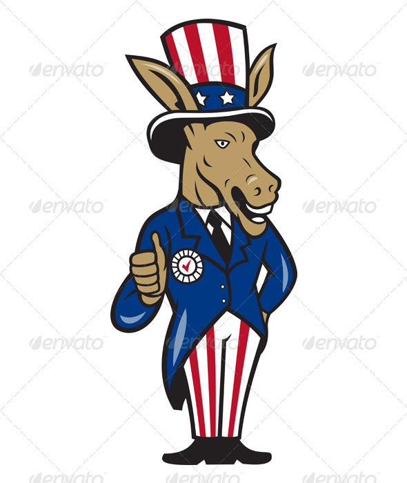 Democrat Donkey Mascot Thumbs Up - Animals Characters