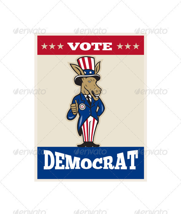 Democrat Donkey Mascot Thumbs Up Txt - Animals Characters