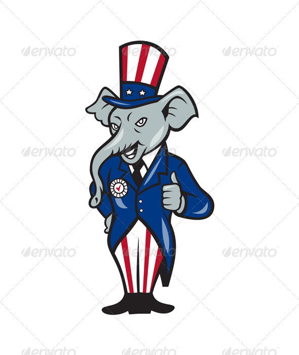 Republican Elephant Mascot Thumbs Up - Animals Characters