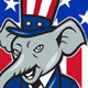 Republican Elephant Mascot Thumbs Up USA Flag  - GraphicRiver Item for Sale