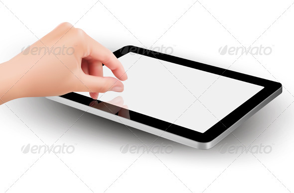 Fingers pinching to zoom tablet s screen  Vector   - Computers Technology