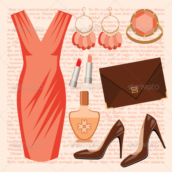 Fashion set with a dress - Conceptual Vectors