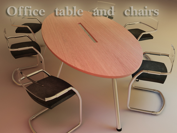 Office Table and Chairs - 3DOcean Item for Sale
