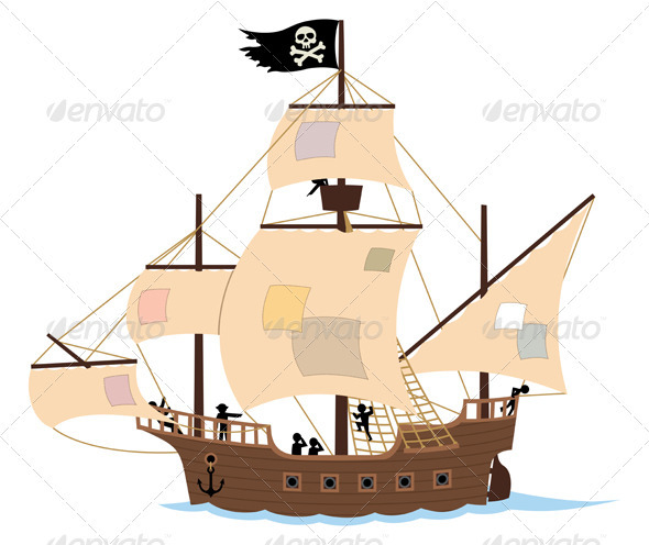 Pirate ship on white graphicriver for Pirate ship sails template