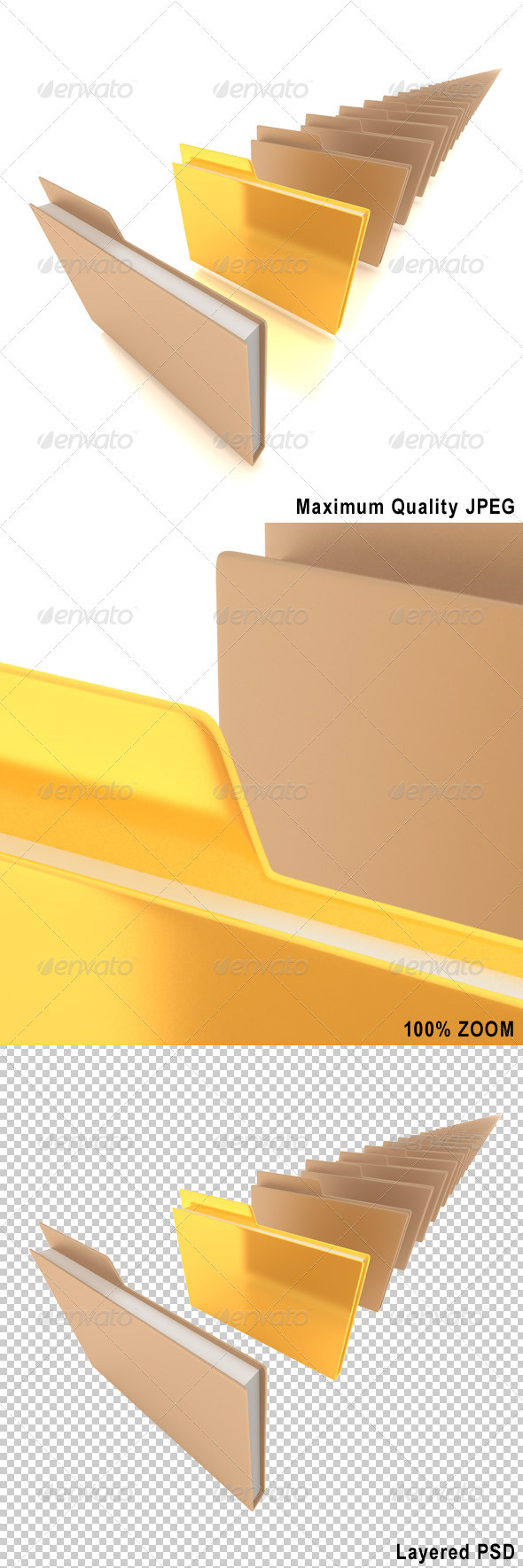 Document Folders with One Golden Folder - Objects 3D Renders