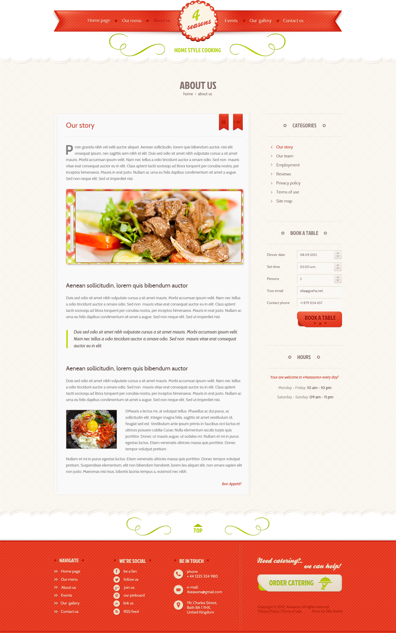 4 Seasons - Restaurant & Cafe PSD Template