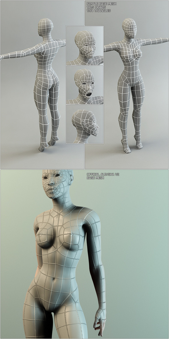 Low Poly Base Mesh Female - 3DOcean Item for Sale