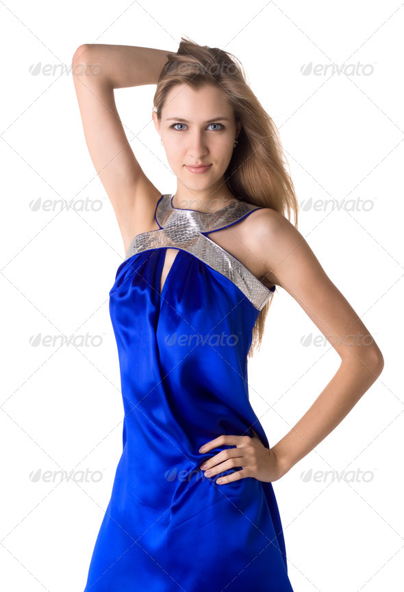Portrait Of A Beautiful Woman In Blue Dress Isolated - Stock Photo - Images