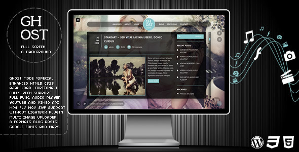 Ghost - Tema Full Screen de Fotografía y Creativo para WordPress