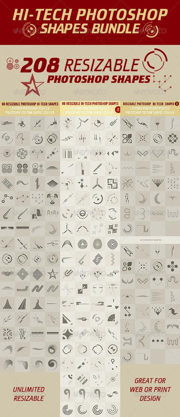 GraphicRiver Hi-Tech Photoshop Shapes Bundle 2942566