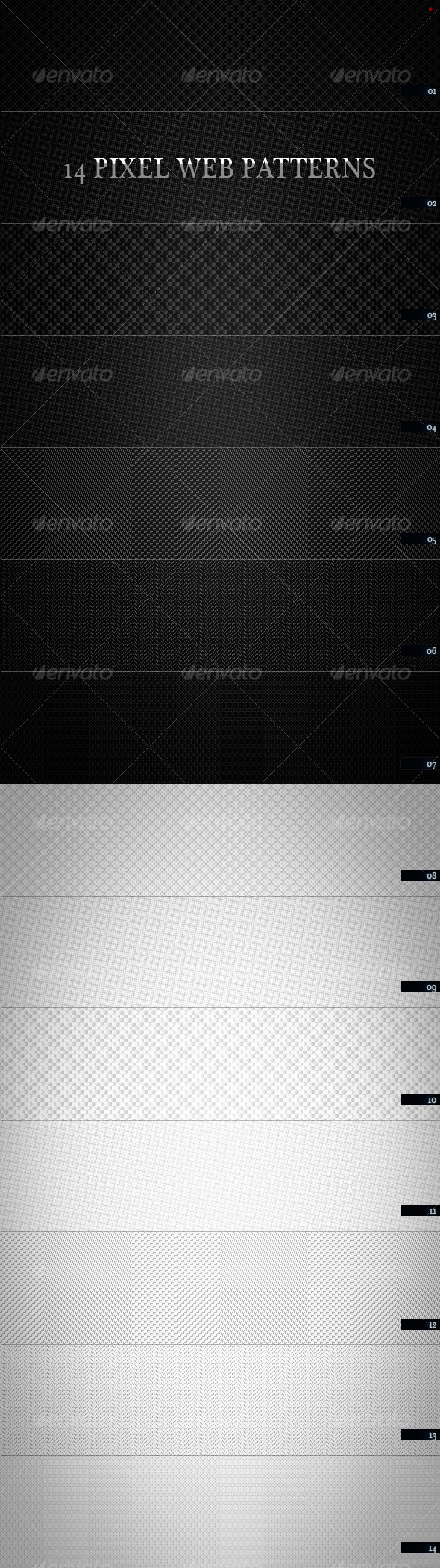 GraphicRiver 14 Pixel Web Pattern Black & White 105247