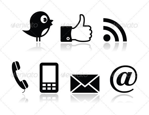 Contacy and social media icons set- twitter, faceb - Web Elements Vectors