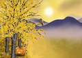 Autumn halloween background with golden asp tree - PhotoDune Item for Sale