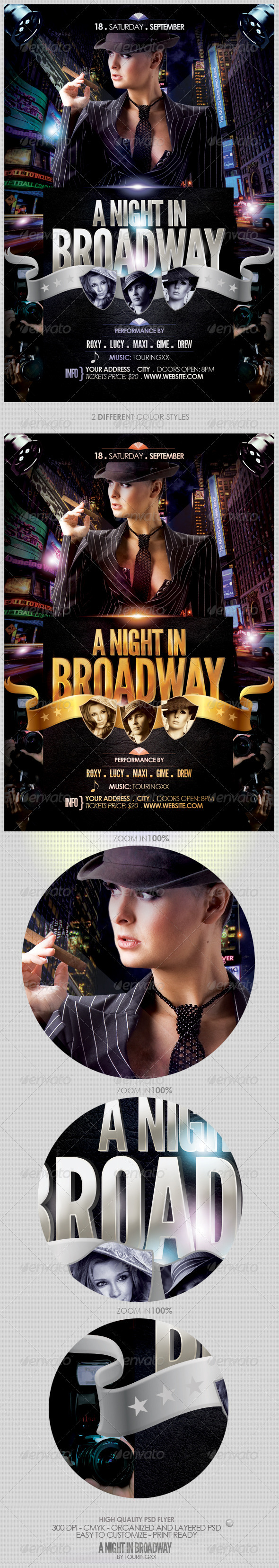A Night In Broadway Flyer Template - Clubs & Parties Events
