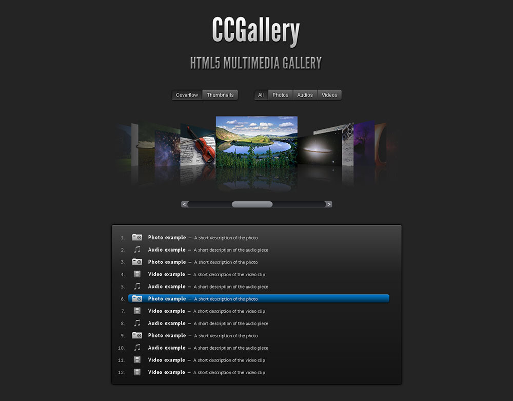CCGallery WP - Multimedia Gallery Wordpress Plugin - CCGallery in Coverflow Mode