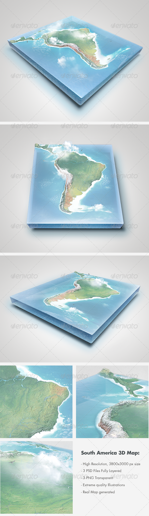 GraphicRiver Realistic South America 3D Map Layered 2944017