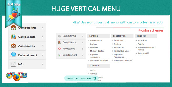 Javascript Huge Vertical Menu - CodeCanyon Item for Sale