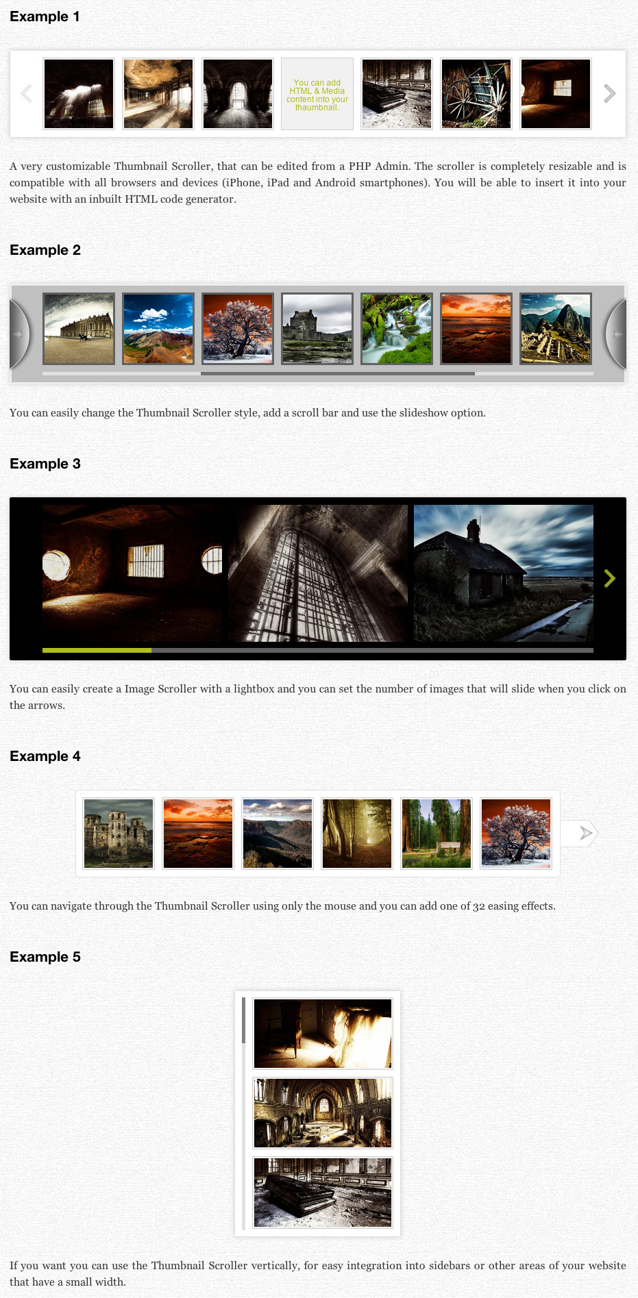 Thumbnail Scroller (with PHP Admin) - Scroller Examples
