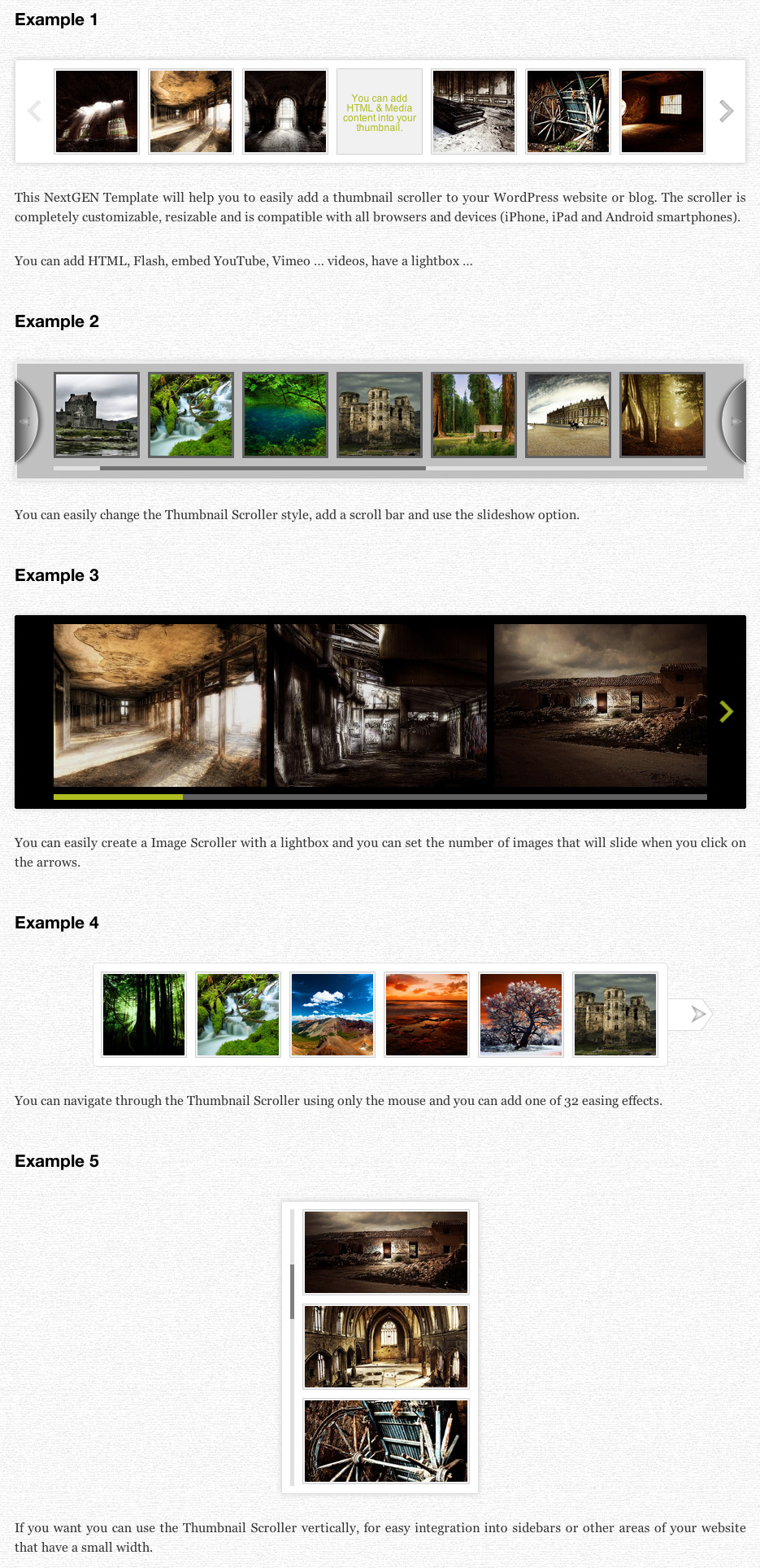 Thumbnail Scroller (WP NextGEN Gallery Template) - Scroller Examples